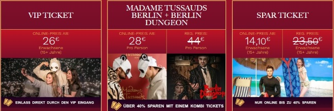 Madame Tussauds Ticketoptionen