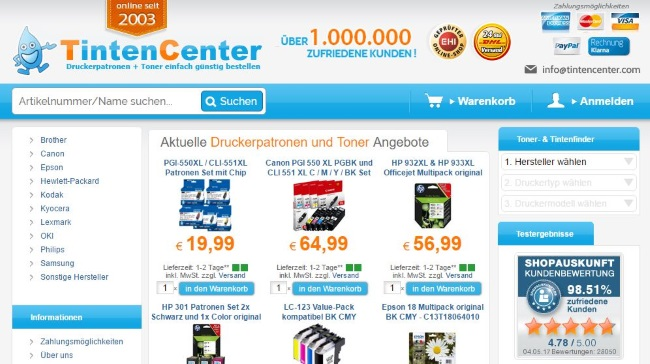 Tintencenter Onlineshop